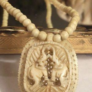 Vintage Hand-carved Bone Elephant Necklace
